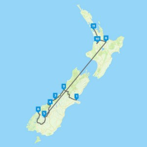Маршрут из Чёрчленда в Окленд автотур 11 дней