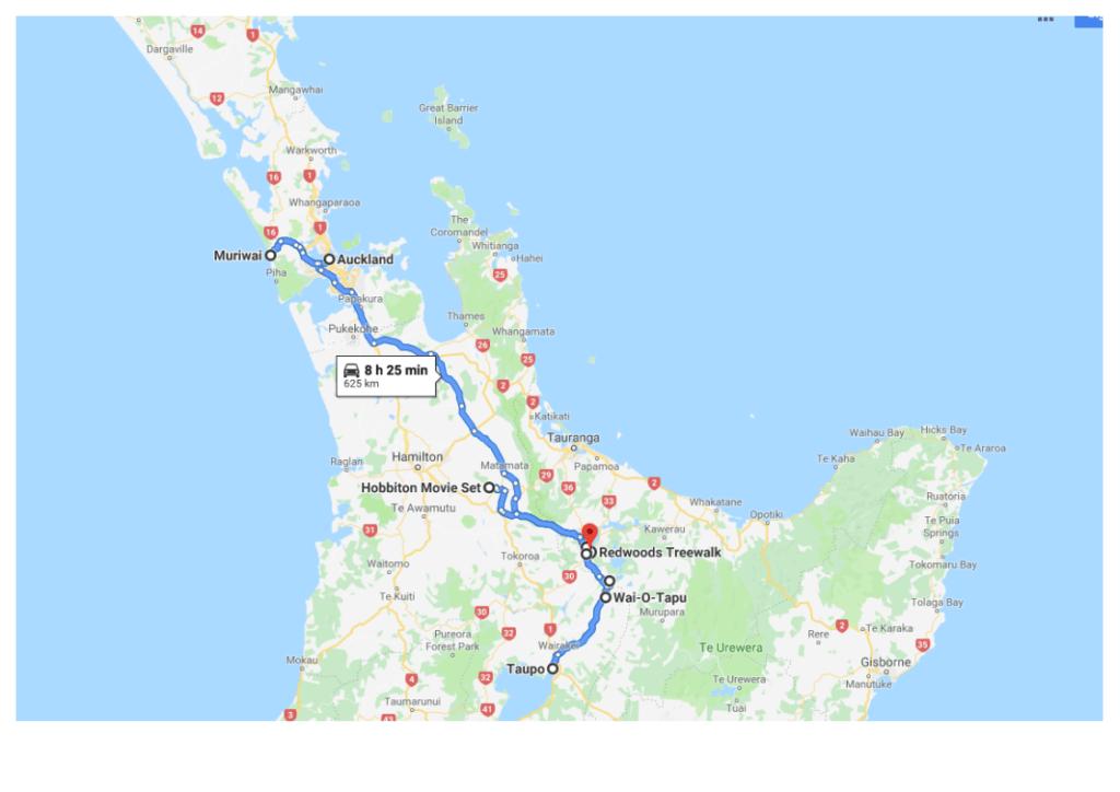 Карта тура в Новой Зеландии